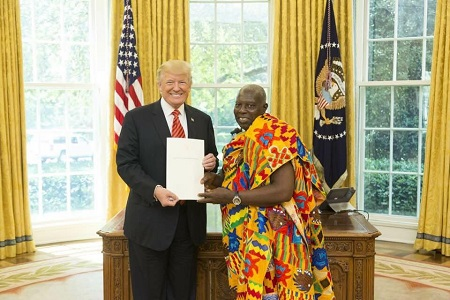 Dr Agyei Bawuah, Ghana's Ambassador to the U.S and President Donald Trump